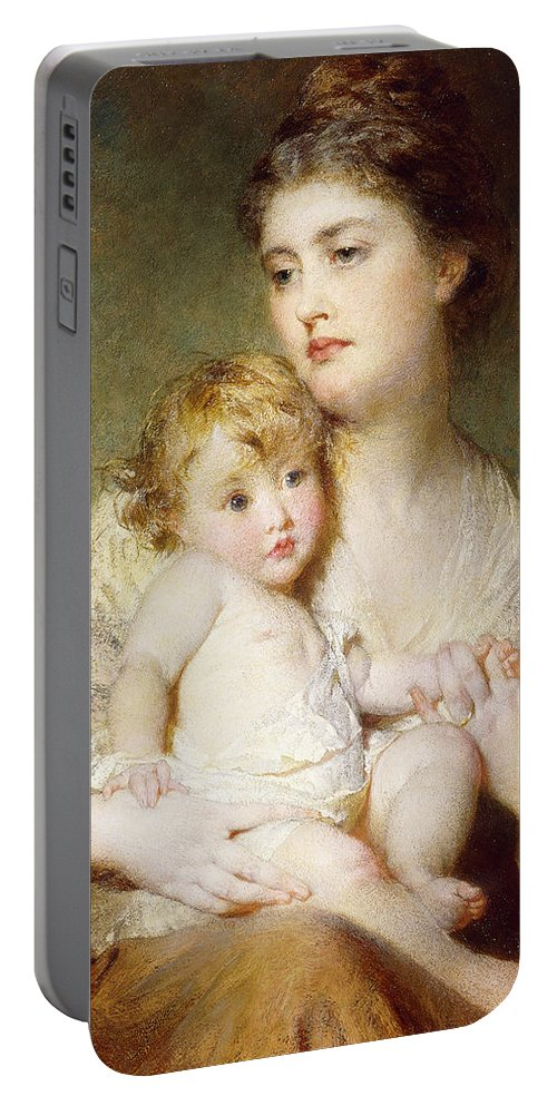 Affection Portable Battery Charger featuring the painting Portrait Of The Duchess Of St Albans With Her Son by George Elgar Hicks