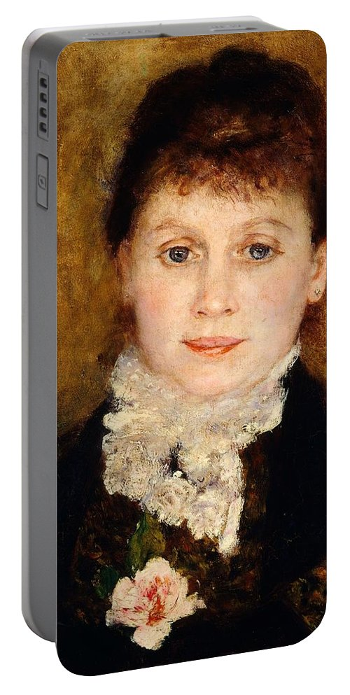Art Portable Battery Charger featuring the painting Portrait Of Woman by Pierre-Auguste Renoir