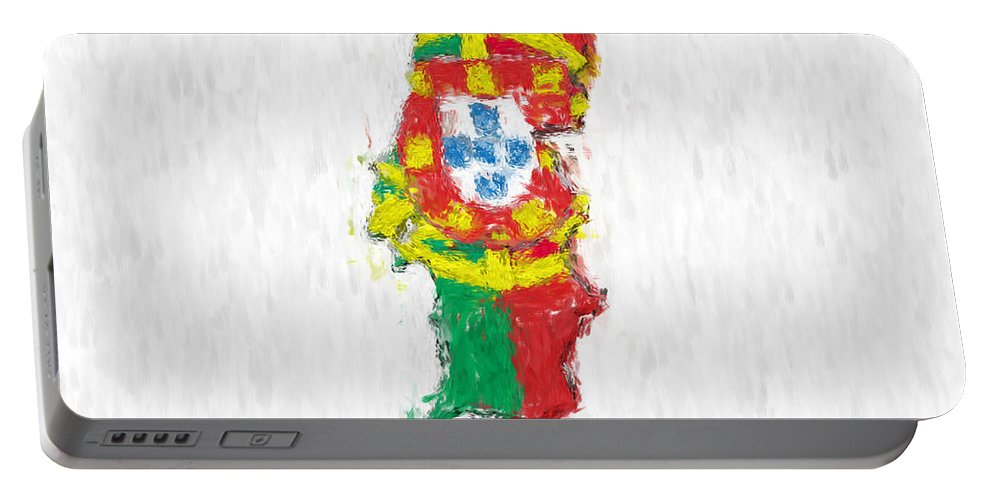 Portugal Portable Battery Charger featuring the photograph Portugal Painted Flag Map by Antony McAulay