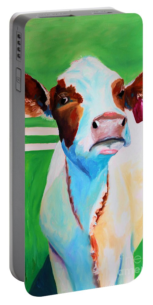 Cow Portable Battery Charger featuring the painting Posing Cow by Todd Bandy