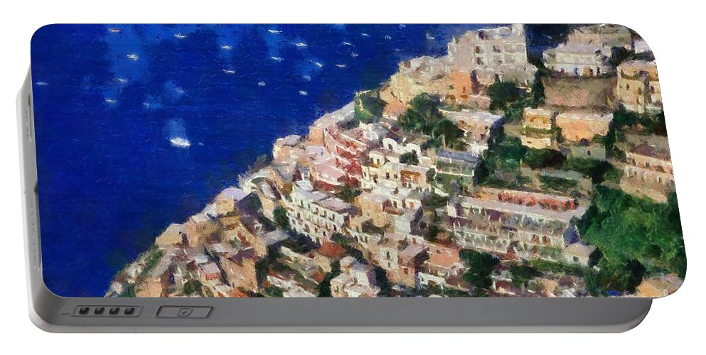 Positano Portable Battery Charger featuring the painting Positano Town In Italy by George Atsametakis