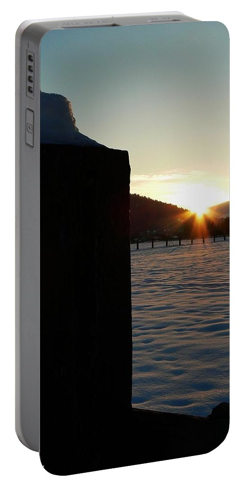 Post Top Rays Portable Battery Charger featuring the photograph Post Top Rays by Barbara St Jean