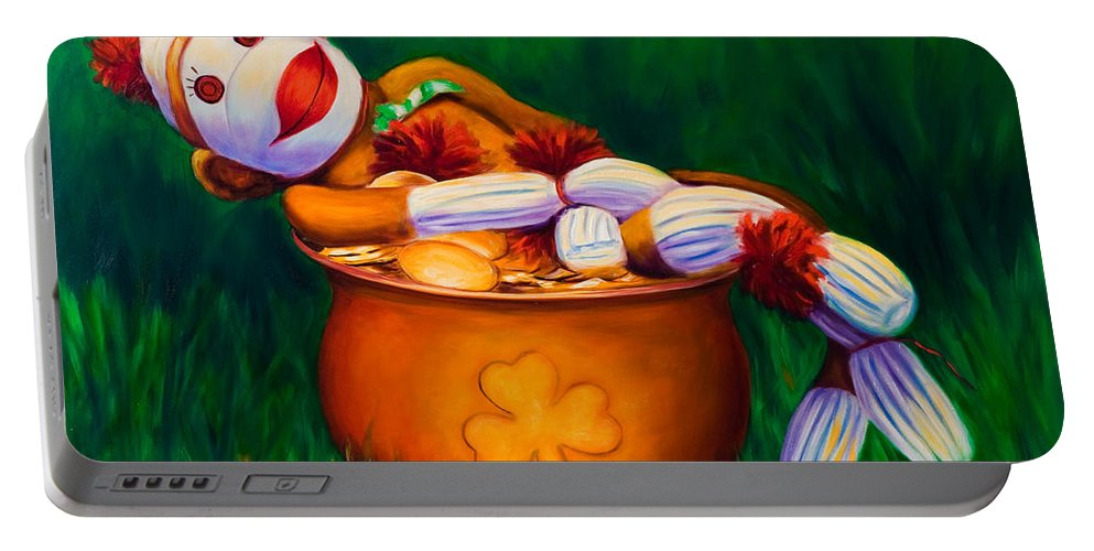 St. Patrick's Day Portable Battery Charger featuring the painting Pot O Gold by Shannon Grissom