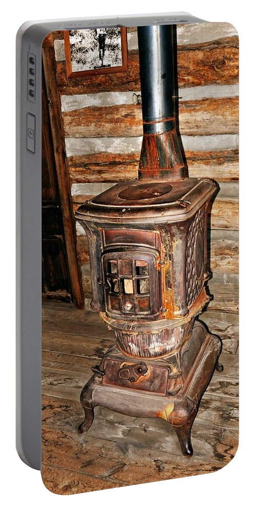 Rustic Portable Battery Charger featuring the photograph Potbelly Stove by Marty Koch
