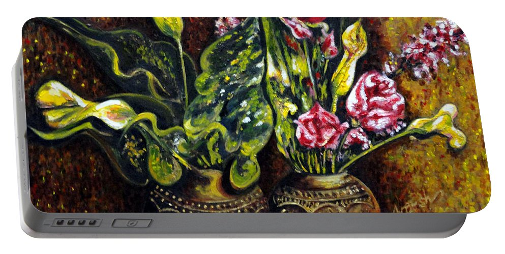 Flower Portable Battery Charger featuring the painting Pots And Flowers by Harsh Malik