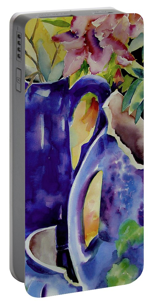 Original Watercolors Portable Battery Charger featuring the painting Pottery And Flowers by Julianne Felton