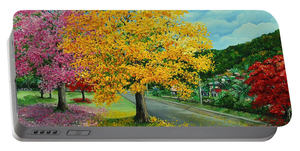 Poui Trees Portable Battery Charger featuring the painting Poui In Diego by Karin Dawn Kelshall- Best