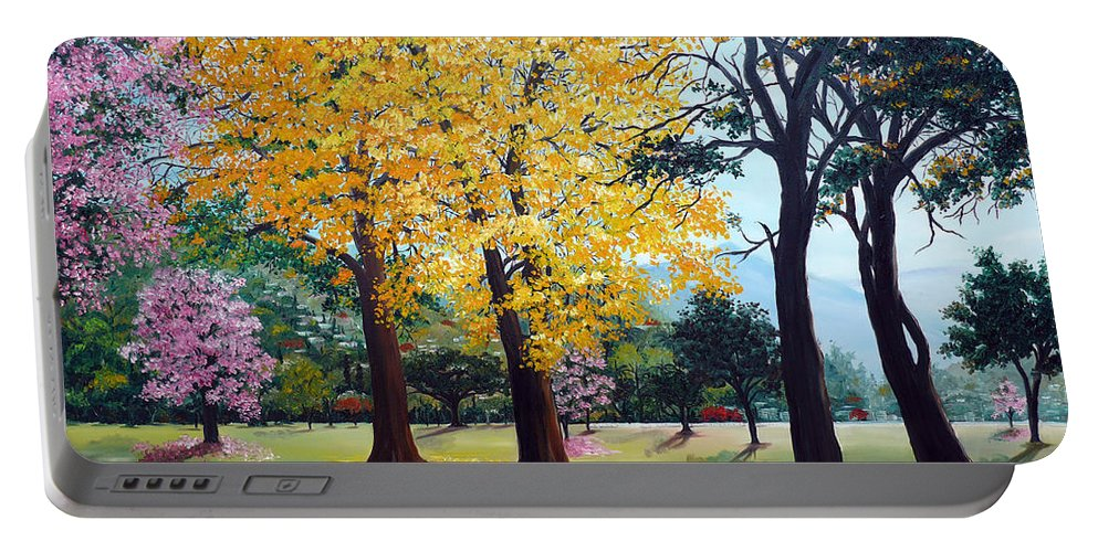 Tree Painting Landscape Painting Caribbean Painting Poui Tree Yellow Blossoms Trinidad Queens Park Savannah Port Of Spain Trinidad And Tobago Painting Savannah Tropical Painting Portable Battery Charger featuring the painting Poui Trees In The Savannah by Karin Dawn Kelshall- Best
