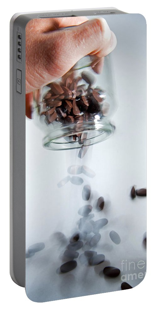Addiction Portable Battery Charger featuring the photograph Pouring Out Pills by Tim Hester