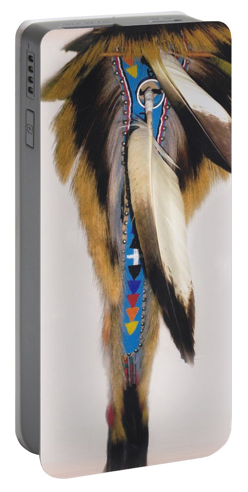 Indian Portable Battery Charger featuring the photograph Pow Wow Regalia - White by Glenn Aker