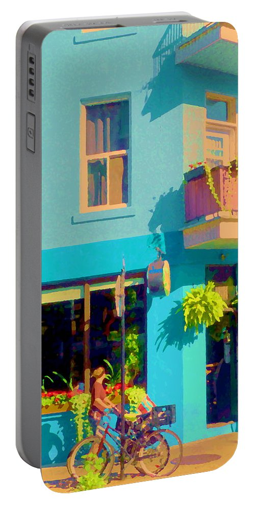 Montreal Portable Battery Charger featuring the painting Powder Blue Corner Cafe Elses Pub Rue Roy Montreal Sunny Summer Cafe Scene Carole Spandau by Carole Spandau