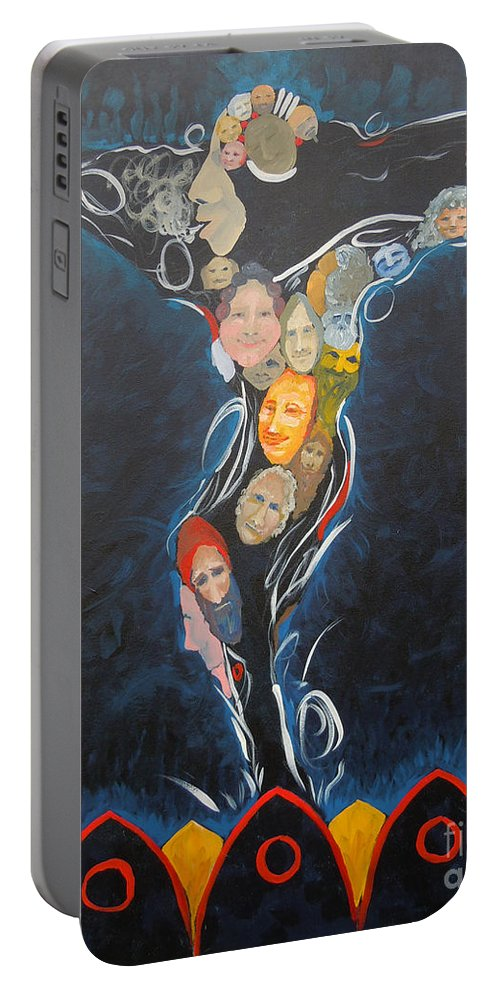 Men Portable Battery Charger featuring the painting Power Of Man by Tonya Henderson