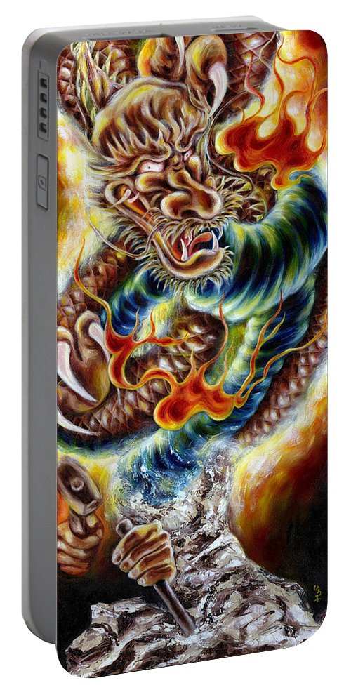 Caving Portable Battery Charger featuring the painting Power Of Spirit by Hiroko Sakai