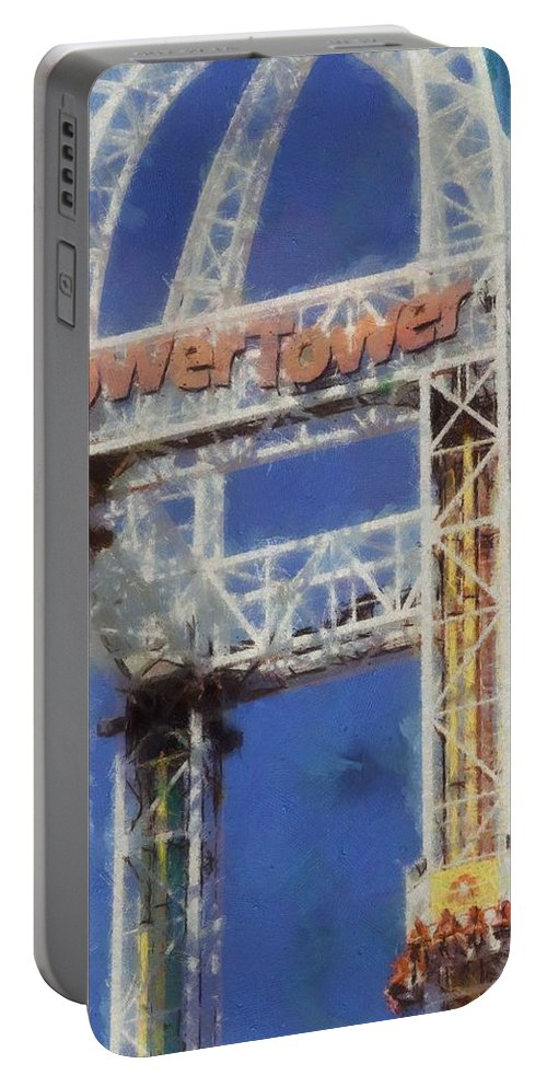 Power Tower Cedar Point Portable Battery Charger featuring the painting Power Tower Cedar Point by Dan Sproul