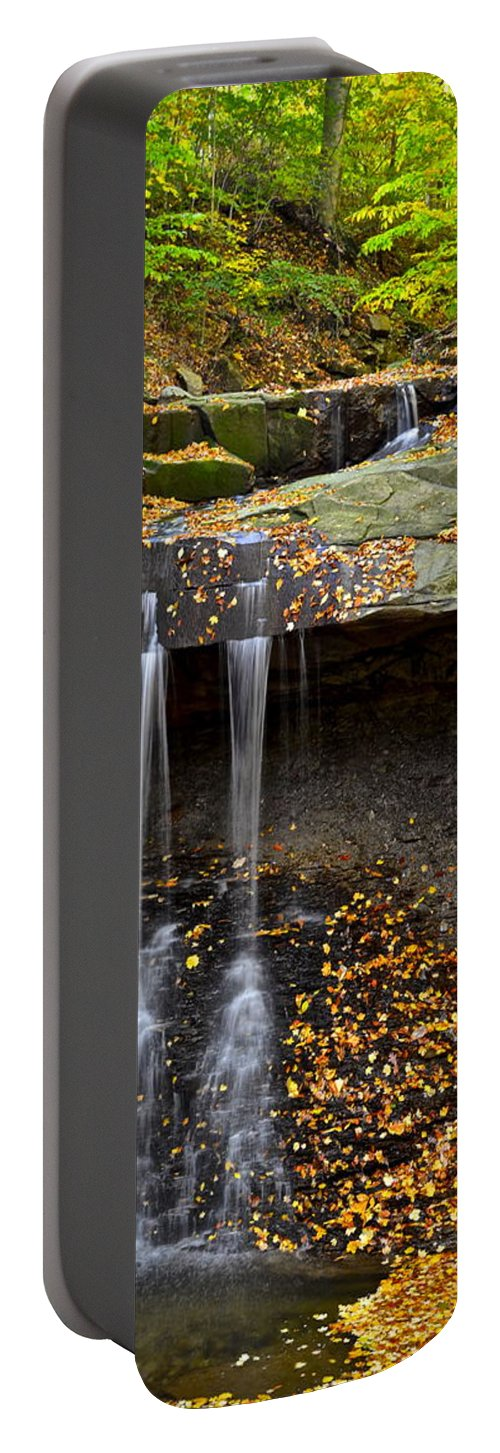 Waterfall Portable Battery Charger featuring the photograph Powerful Trickle by Frozen in Time Fine Art Photography