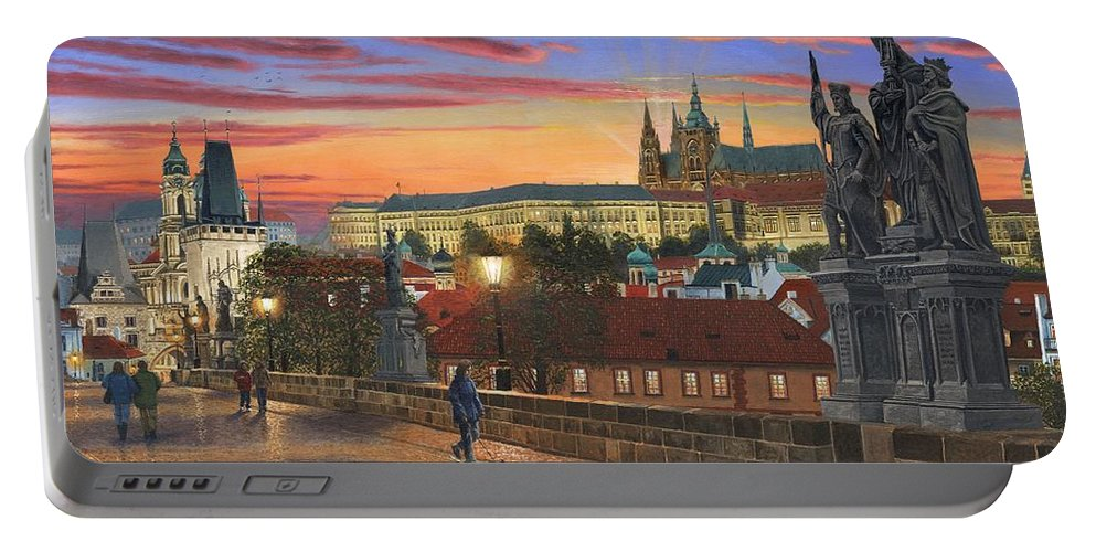 Landscape Portable Battery Charger featuring the painting Prague At Dusk by Richard Harpum