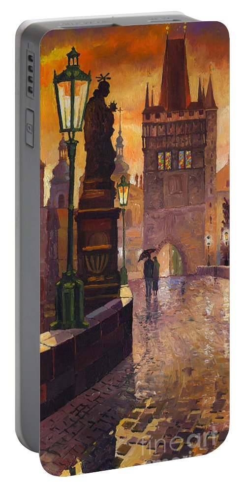 Prague Portable Battery Charger featuring the painting Prague Charles Bridge 01 by Yuriy Shevchuk