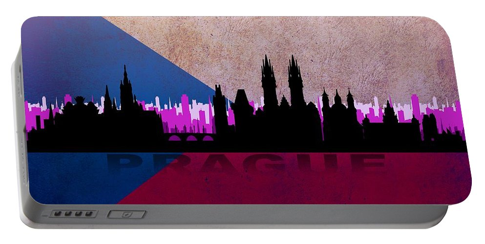 Architecture Portable Battery Charger featuring the digital art Prague City by Don Kuing