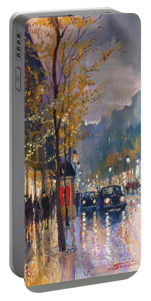 Prague Portable Battery Charger featuring the painting Prague Old Vaclavske Square 01 by Yuriy Shevchuk