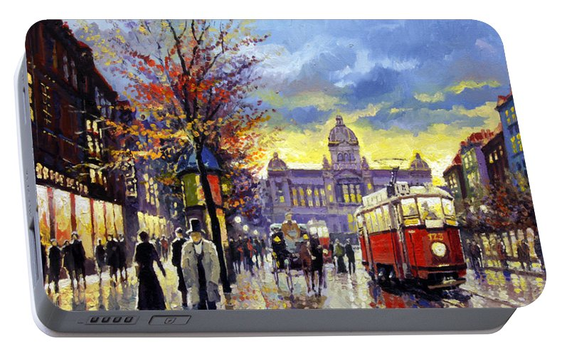 Oil On Canvas Portable Battery Charger featuring the painting Prague Vaclav Square Old Tram Imitation By Cortez by Yuriy Shevchuk