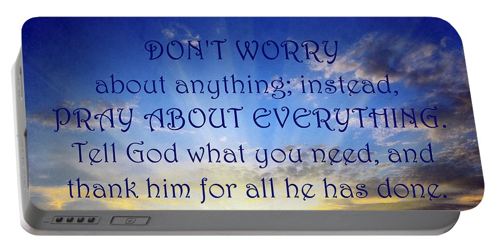 Worry Portable Battery Charger featuring the mixed media Pray About Everything 1 by Angelina Vick