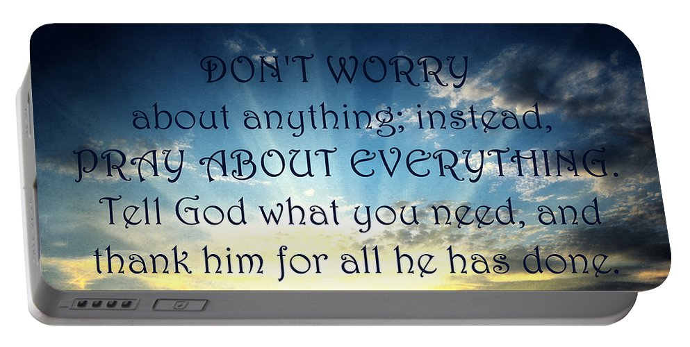 Worry Portable Battery Charger featuring the mixed media Pray About Everything 2 by Angelina Vick