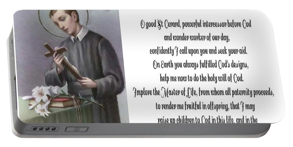 Prayer To St. Gerard For Motherhood Portable Battery Charger featuring the photograph Prayer To St. Gerard For Motherhood by Barbara Griffin