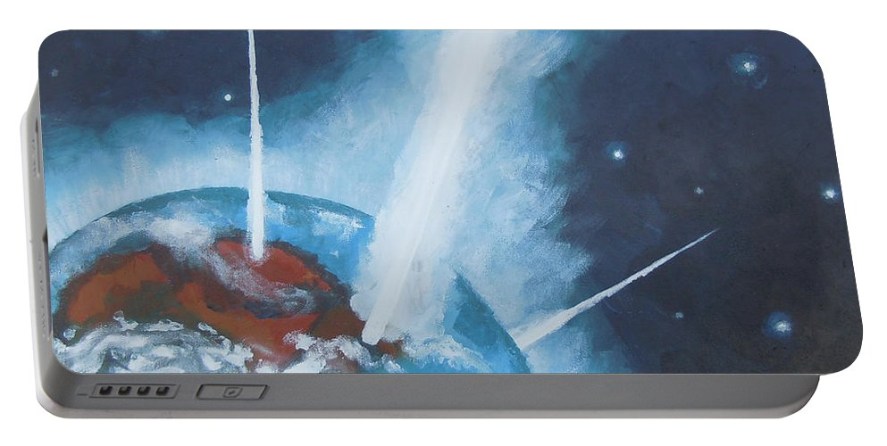 Earth Portable Battery Charger featuring the painting Prayers by Tonya Henderson