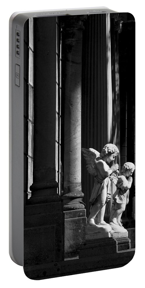Praying Portable Battery Charger featuring the photograph Praying Angle - Sucre Cemetery In Black And White by For Ninety One Days