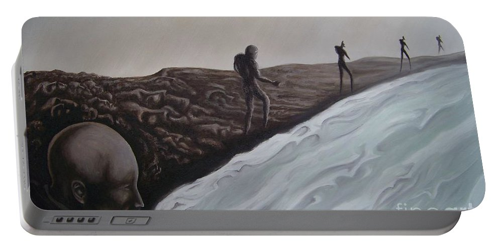 Tmad Portable Battery Charger featuring the painting Premonition by Michael TMAD Finney