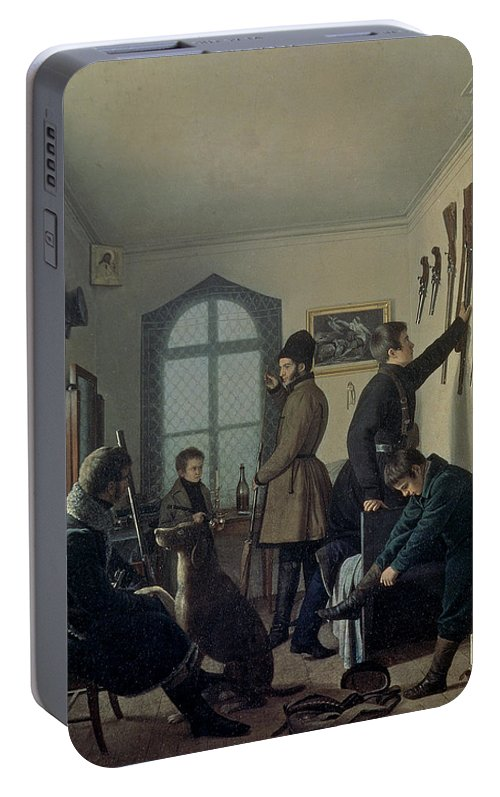 Hunter Portable Battery Charger featuring the photograph Preparations For Hunting, 1836 by Jevgraf Fiodorovitch Krendovsky