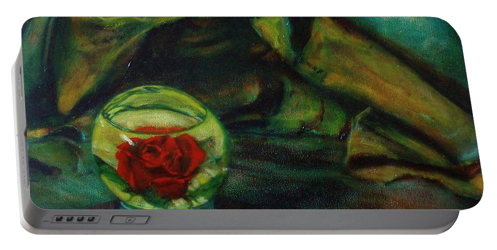 Still Life Portable Battery Charger featuring the painting Preserved Rose . . Draped Canvas by Sean Connolly