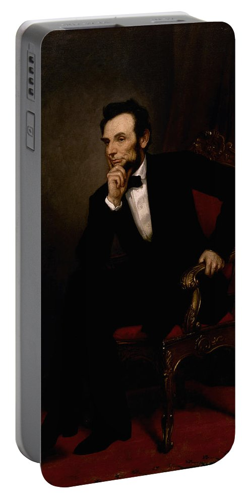 Abraham Lincoln Portable Battery Charger featuring the painting President Lincoln by War Is Hell Store