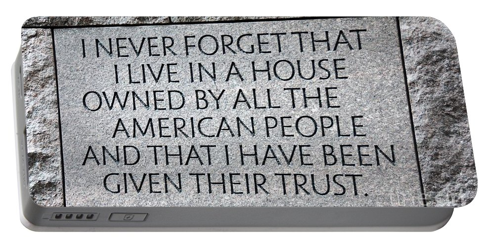 Fdr Portable Battery Charger featuring the photograph Presidential Message by Cindy Manero