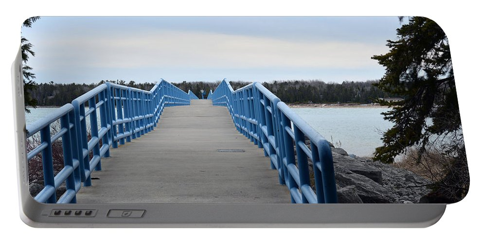 Presque Isle Portable Battery Charger featuring the photograph Presque Isle Pier by Linda Kerkau