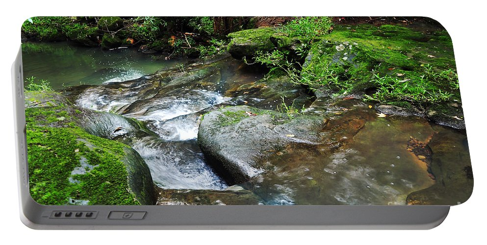 Photography Portable Battery Charger featuring the photograph Pretty Green Creek by Kaye Menner