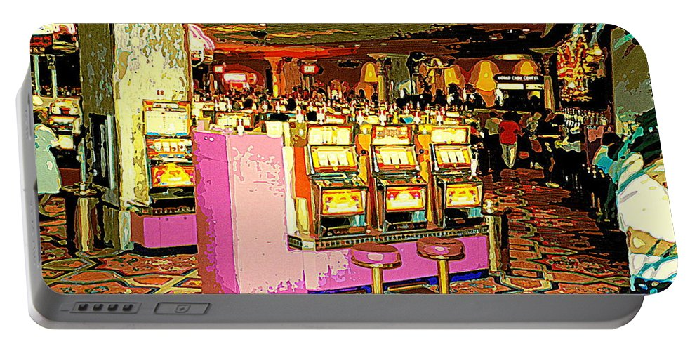 Colorful Casino Scenes Portable Battery Charger featuring the painting Pretty In Pink Bar Stools And Slots Reserved For Spring Break High Rollers  by Carole Spandau