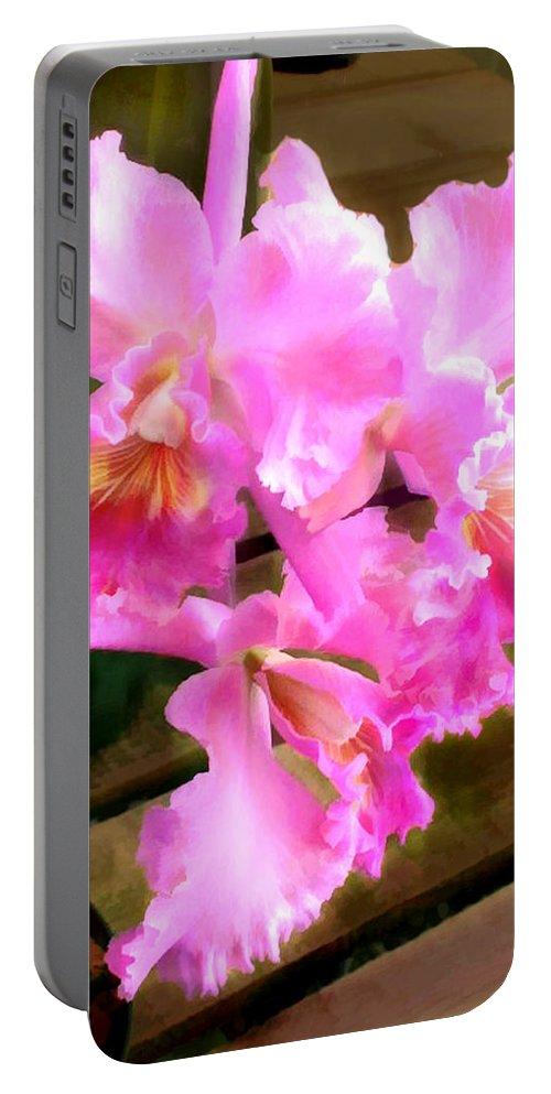 Orchid Portable Battery Charger featuring the painting Pretty In Pink Cattleya Orchids by Elaine Plesser