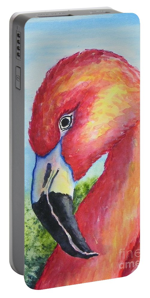 Wildlife Portable Battery Charger featuring the painting Pretty In Pink by Conni Reinecke