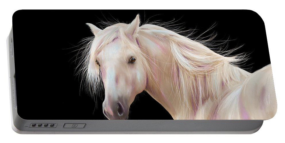 Pony Portable Battery Charger featuring the painting Pretty Palomino Pony Painting by Michelle Wrighton