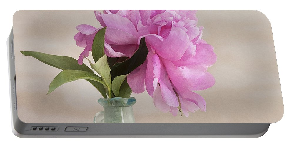 Peony Portable Battery Charger featuring the photograph Pretty Pink Peony by Rich Franco