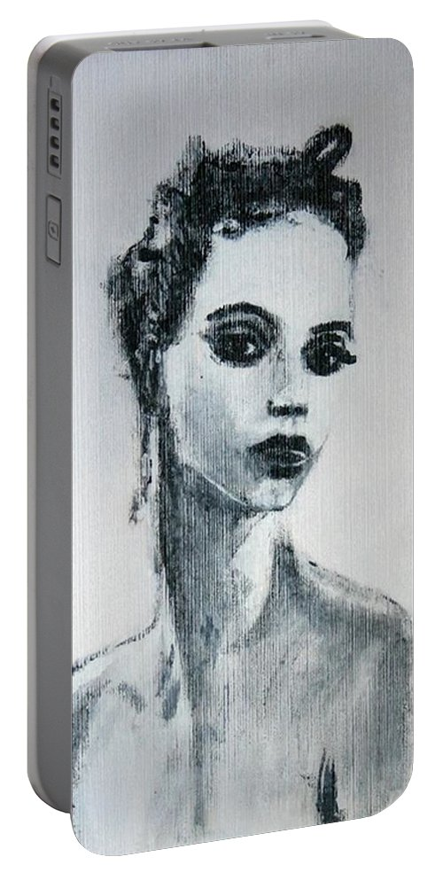 Portrait Art Portable Battery Charger featuring the painting Primadonna by Jarmo Korhonen aka Jarko