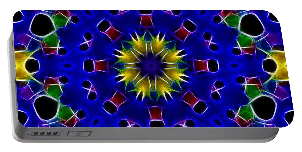 Primary Colors Portable Battery Charger featuring the photograph Primary Colors Fractal Kaleidoscope by Kathy Clark