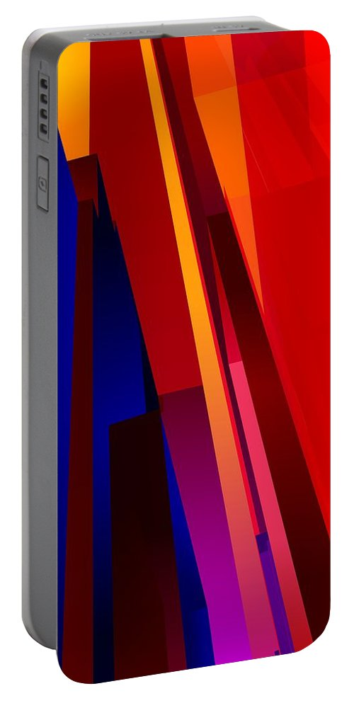 Abstract Portable Battery Charger featuring the digital art Primary Skyscrappers by James Kramer