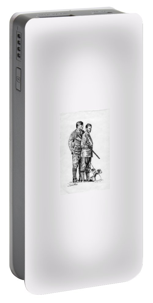 Portable Battery Charger featuring the drawing Prince Charles Hunting by Jude Darrien