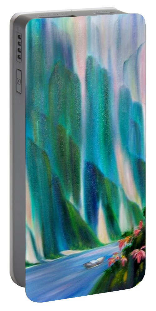 Water Portable Battery Charger featuring the painting Prisms by Dina Holland