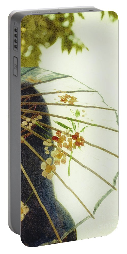 Chinese; Woman; Female; Lady; Pretty; Beautiful; Feminine; Prim; Proper; Umbrella; Shade; Parasol; Cover; Brunette; Decor; Ornate; Orient; Oriental; Leaves Portable Battery Charger featuring the photograph Pristine by Margie Hurwich