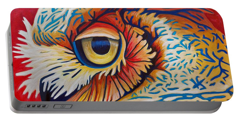 Owl Portable Battery Charger featuring the painting Private Passion by Brian Commerford