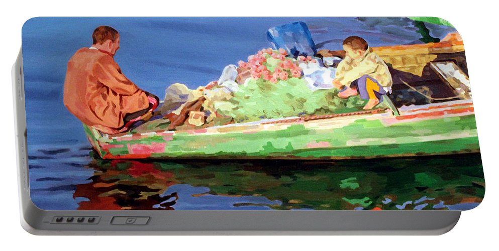 Boat Portable Battery Charger featuring the painting Private Talk  by Ahmed Bayomi
