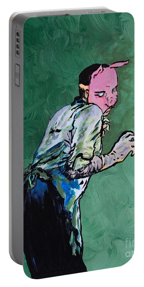 Professor Pyg Portable Battery Charger featuring the painting Professor Pyg by Alys Caviness-Gober